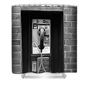 The Payphone - Black And White Shower Curtain