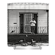 The Pigeon Lady - Black And White Shower Curtain