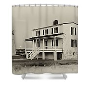 The Piney Point Lighthouse In Sepia Shower Curtain