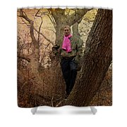 The Pink Scarf Shower Curtain