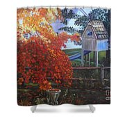 The Playhouse In Fall Shower Curtain
