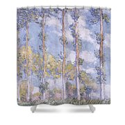 The Poplars Shower Curtain by Claude Monet