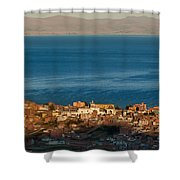The Population Of Copacabana On The Shores Of Lake Titicaca. Republic Of Bolivia. Shower Curtain