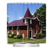 The Purple Church Shower Curtain