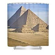 The Pyramids With Two Men On Camels Shower Curtain