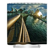 The Railing To The City Shower Curtain