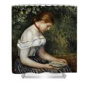 The Reader A Seated Young Girl  Shower Curtain by Pierre Auguste Renoir