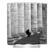 The Reader Amidst The Columns Bw Shower Curtain