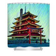 The Reading Pagoda Shower Curtain