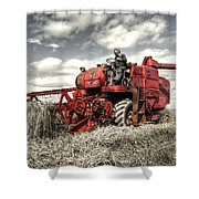 The Red Combine Shower Curtain