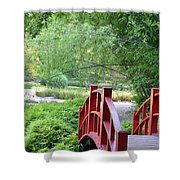 The Red Wood Bridge Shower Curtain
