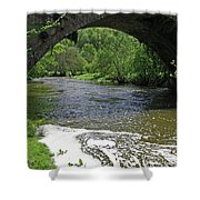 The River Dove Beneath Coldwall Bridge Shower Curtain