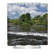 The Riverside And Weir - Bakewell Shower Curtain