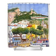 The Ruined Tower Above The Beach At Amalfi On The Southern Italian Coast Shower Curtain