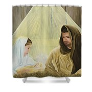 The Savior Is Born Shower Curtain