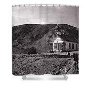 The Schoolhouse In Calico Ghost Town California Shower Curtain by Susanne Van Hulst
