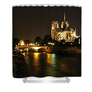The Seine And Notre Dame At Night Shower Curtain