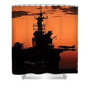 The Setting Sun Silhouettes Shower Curtain