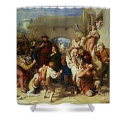 The Seven Ages Of Man Shower Curtain by William Mulready