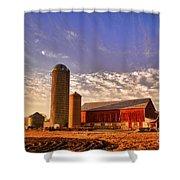 The Skittles Barn Shower Curtain