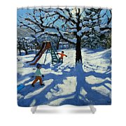 The Slide In Winter Shower Curtain by Andrew Macara