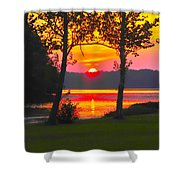 The Smiling Face Sunset Shower Curtain