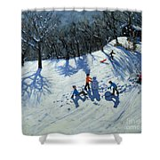 The Snowman  Shower Curtain by Andrew Macara