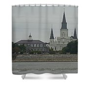 The St.louis Cathedral From Acorss The River Shower Curtain