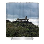 The Structure Of An Abandoned Temple On The Top Of A Green Covered Hill With Blue And White Clouds I Shower Curtain