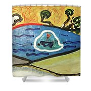 The Sun And A Boat Painting Shower Curtain