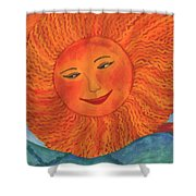 The Sun God Detail Of Red Sky At Night Shower Curtain