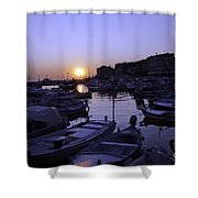 The Sun Goes Down In Rovinj Shower Curtain