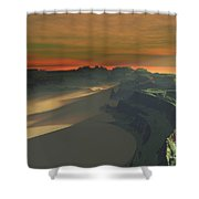 The Sun Sets On This Desert Landscape Shower Curtain