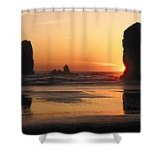 The Sun Sets Over The Sea Stacks Shower Curtain