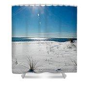 The Sun Shines Down On Freshly Fallen Snow On Bristol Beach Shower Curtain