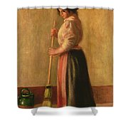 The Sweeper Shower Curtain by Pierre Auguste Renoir