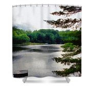 The Swimming Dock Shower Curtain by Michelle Calkins