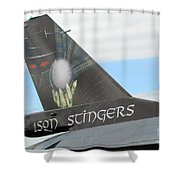 The Tail Of A Belgian F16 Aircraft Shower Curtain by Luc De Jaeger