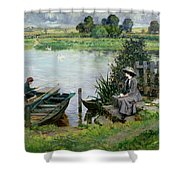 The Thames At Benson Shower Curtain