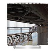 The Three Benicia-martinez Bridges In California - 5d18844 Shower Curtain