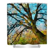 The Tree Of Many Colours  Shower Curtain