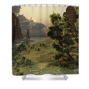 The Trees Are Kissed By Sunlight Shower Curtain
