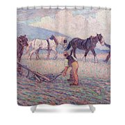The Turn - Rice Plough Shower Curtain