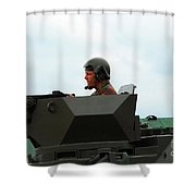 The Turret Of A Pandur Wheeled Armoured Shower Curtain by Luc De Jaeger