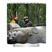 The Turret Of The Leopard 1a5 Mbt Shower Curtain by Luc De Jaeger