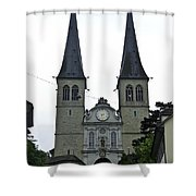 The Twin Spires Of Hof Church In Lucerne Shower Curtain