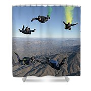 The U.s. Navy Parachute Demonstration Shower Curtain
