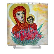 The Virgin And The Child Shower Curtain