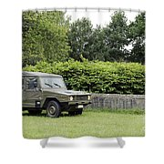 The Vw Iltis Jeep Used By The Belgian Shower Curtain by Luc De Jaeger