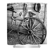 The Wagon Wheel Bw Shower Curtain